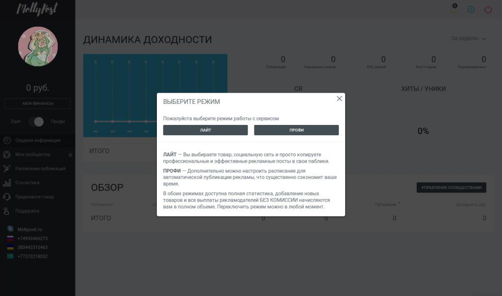 Зарабатываем вместе с MollyPost.ru